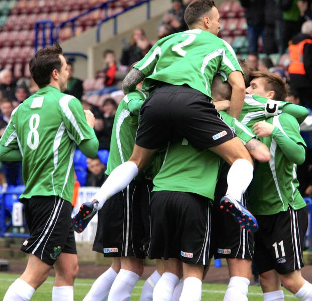 1874 Northwich players celebrate Mike Brandon's goal against Formby on Sat