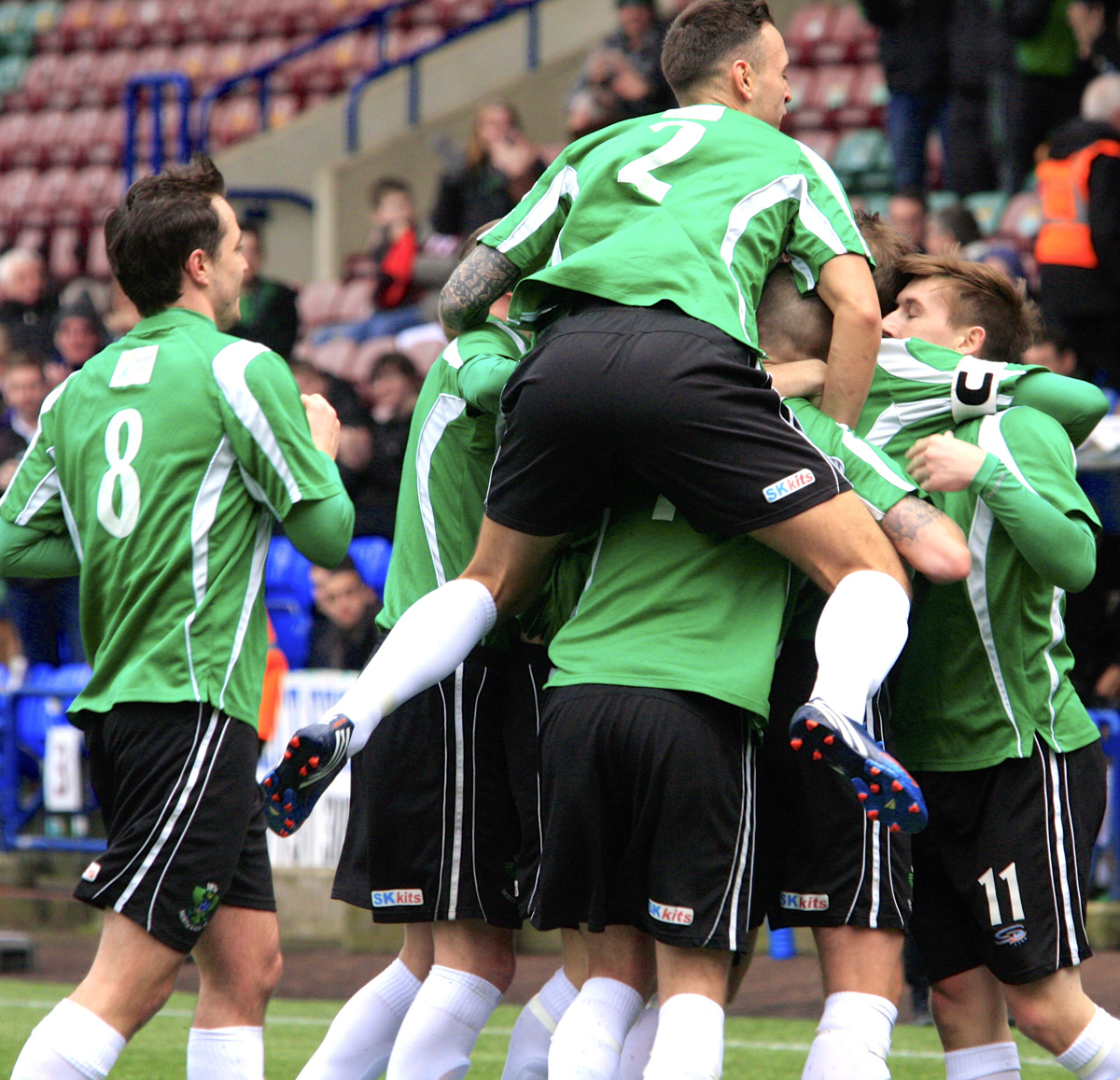 1874 Northwich players celebrate Mike Brandon's goal against Formby on Saturday. Picture: Matt Draycott