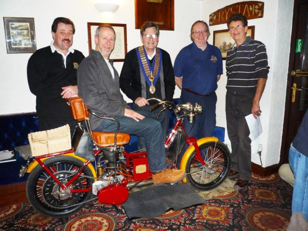 Cheshire Cats committee members with Vic Blake, president of the Vintage Motorcycle Club. Pictured, from left, are Paul Knight, Bernie Horrigan, Vic Blake, Philip Green and Stephen Herbert.