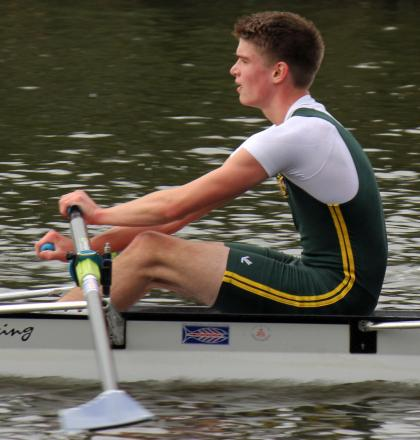 George Lawton, from Northwich Rowing Club, was a winner in two boat classes during Saturday's time trial at Runcorn
