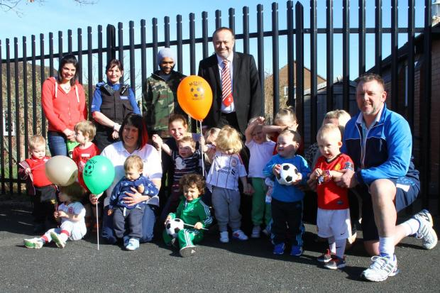 Mark Harris, chairman of Witton Albion FC, helps to launch Mini Dribblers in Rudheath.