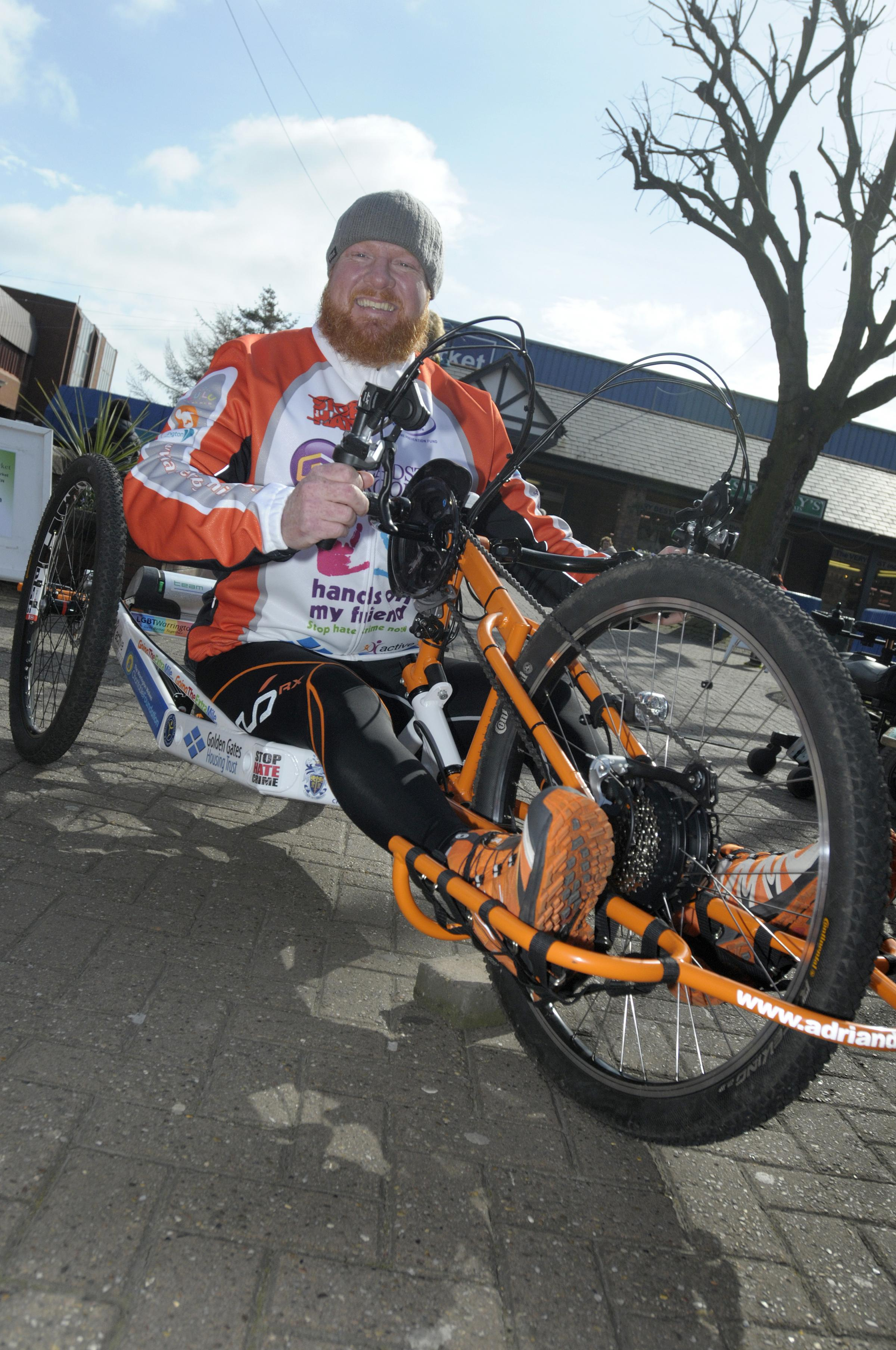 Adrian Derbyshire on his hand cycle.
