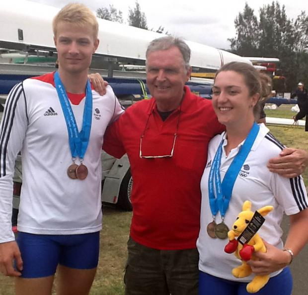Ed Grisedale, left, with Northwich Rowing Club coach Jed Barlow and Lucy Burgess at last year's Australian Olympic Youth Festival