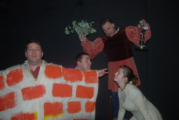 Northwich Guardian: Cast members in a scene from A Midsummer Night's Dream. From left, Jon Bowen, Peter Bramall, Phil Perry, Lauren Bell.