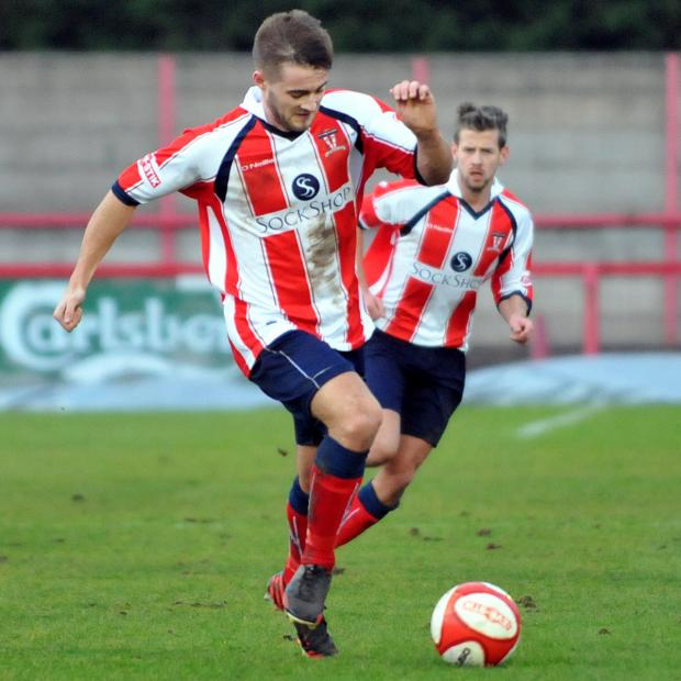 Northwich Guardian: Josh Hancock scored his 50th goal for Witton Albion during Monday's home defeat against Rushall Olympic
