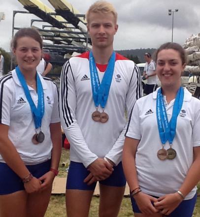 Emily Ford, left Ed Grisedale and Lucy Burgess took part in the British senior rowing trials at Caversham on Saturday