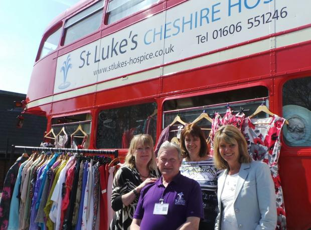 Nessa Briggs, Sarah Burgess, Sophie Hawes and Bill Morrison, from St Luke's Hospice, with the Frock Stop.