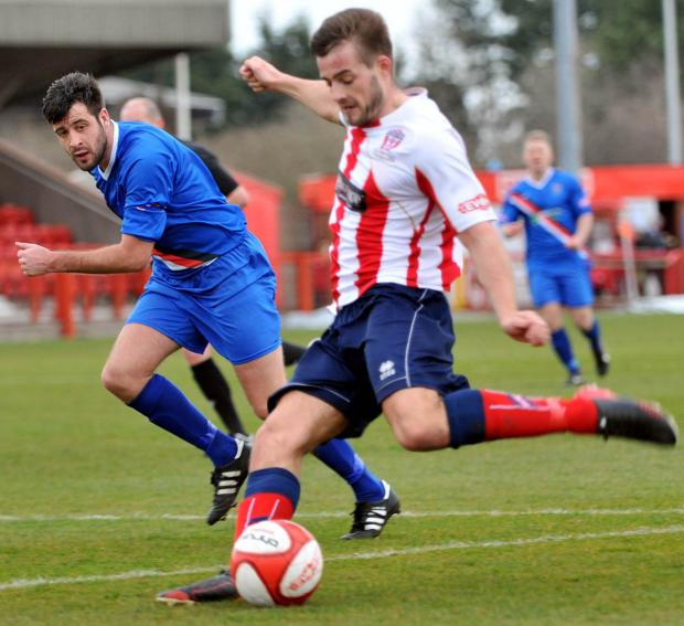 Josh Hancock in action for Witton Albion against Whitby Town this season.