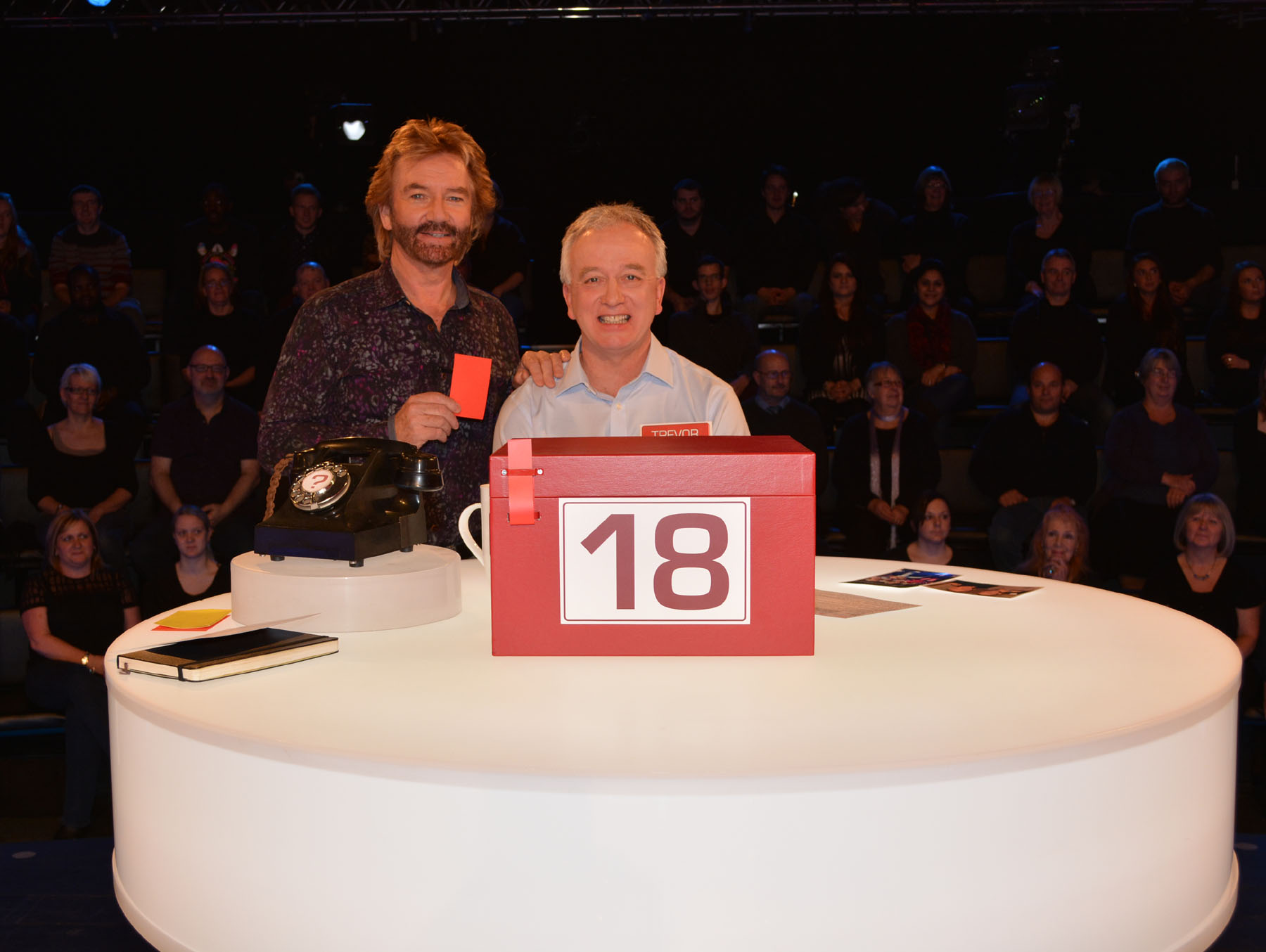 Trevor with Noel Edmonds, host of Channel 4's 'Deal or No Deal'.