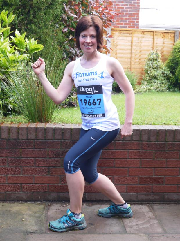 Northwich Guardian: Karen Rogers on her marks for Sunday's Great Manchester Run