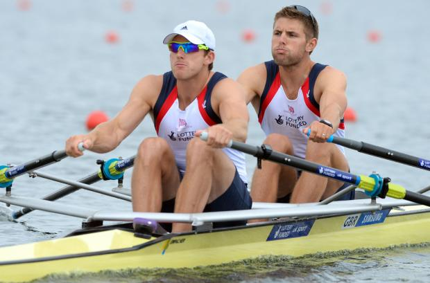 Matthew Langridge, left, in action as part of Great Britain's men's double scull last season. Picture: Intersport Images