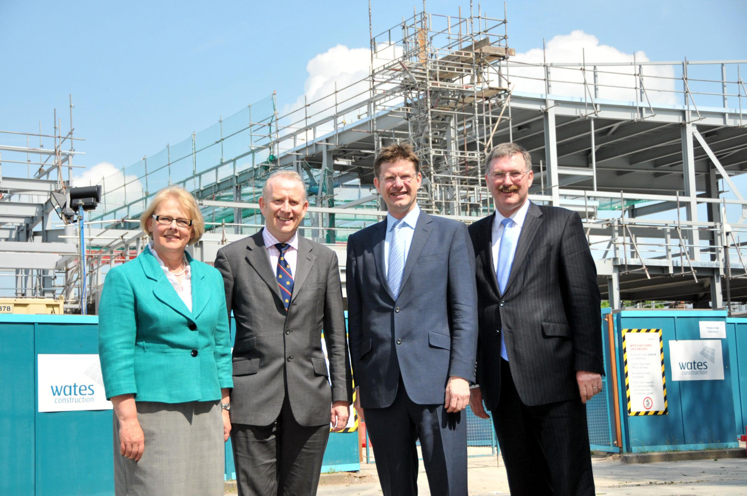 Clr Eveleigh Moore Dutton, deputy leader of Cheshire West and Chester Council (CWAC), Weaver Vale MP Graham Evans, Greg Clark, Minister for Cities and Constitution, and Clr Mike Jones, CWAC leader.