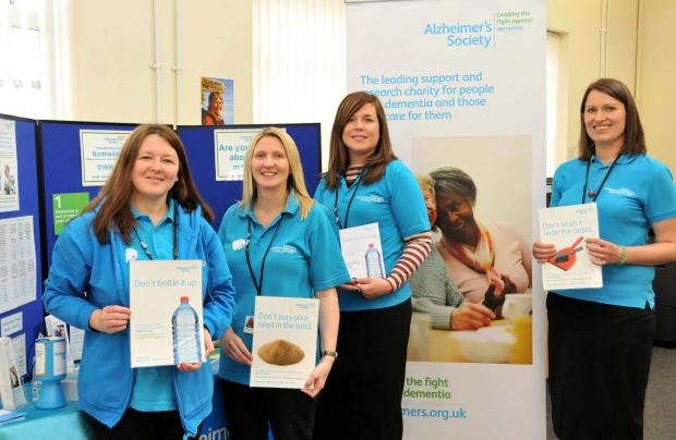 Carmen Murphy, Gill Yates, Sheridan Coker and Liz Stainsby, from the Alzheimer's Society, help raise awareness about dementia.