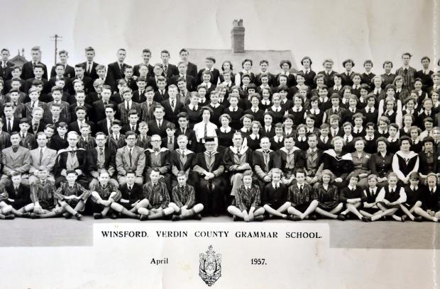 The middle section of the metre-long school photograph which has prompted so many memories. Mr Shambrook is second from the left.