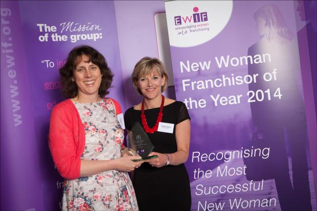 Northwich Guardian: Vicky Matthews, left, and Caroline Gowing, pick up their award.