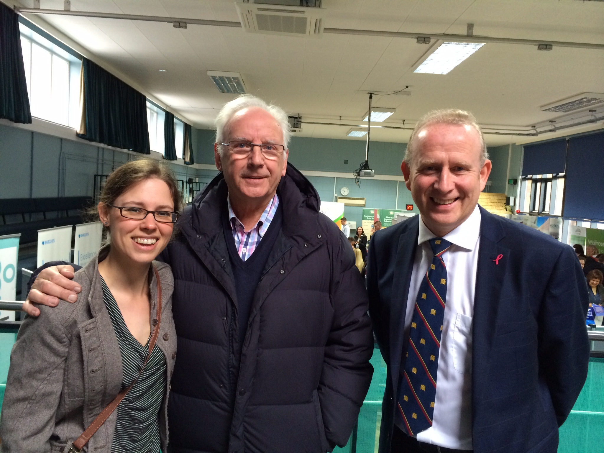 Guardian chief reporter Gina Bebbington with Pete Waterman and Weaver Vale MP Graham Evans at the jobs fair.