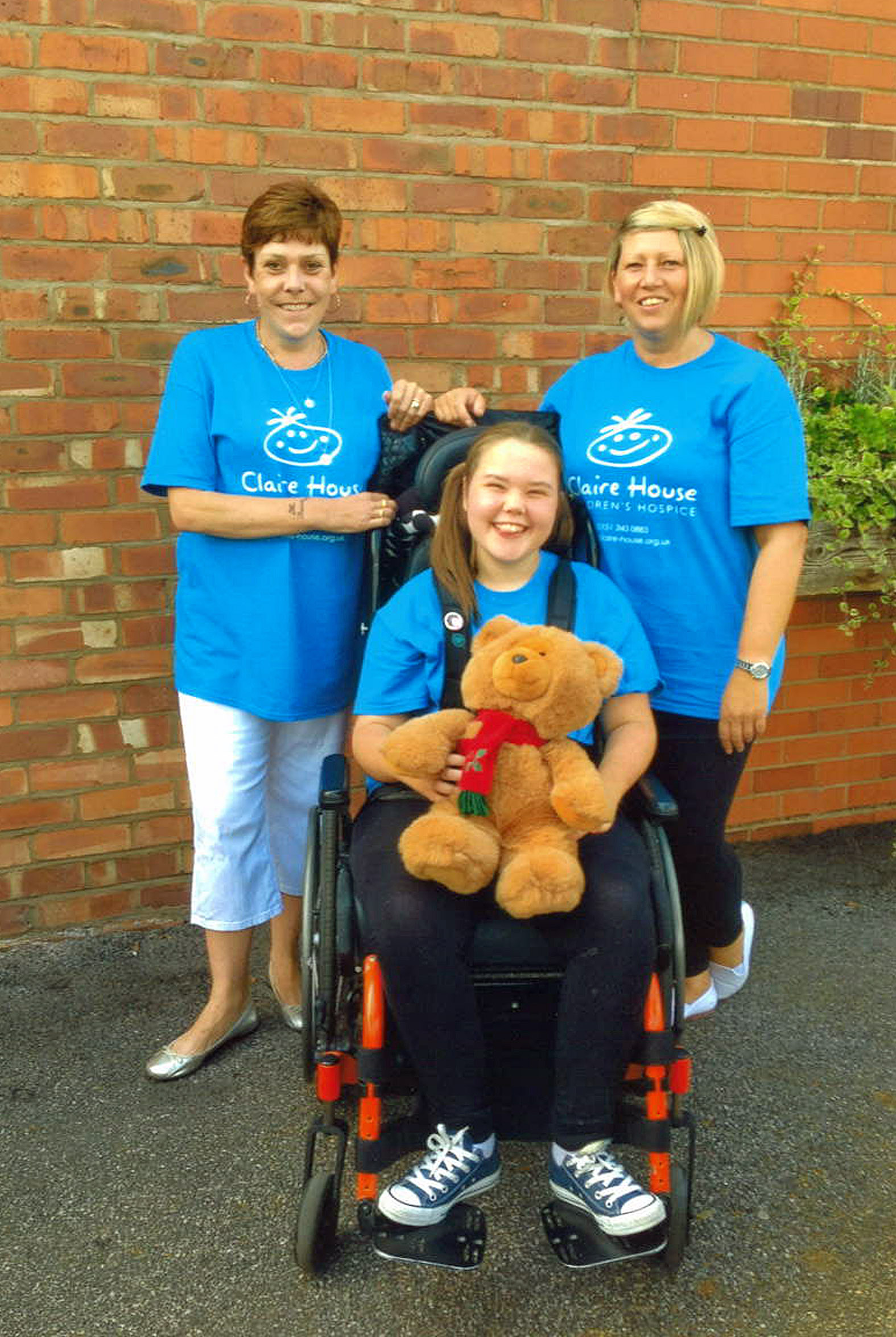 Elle with mum Michelle, right, and Anita Singleton, at a fundraiser at Rudheath Social Club last summer for Claire House Children's Hospice, which was organised by Anita.