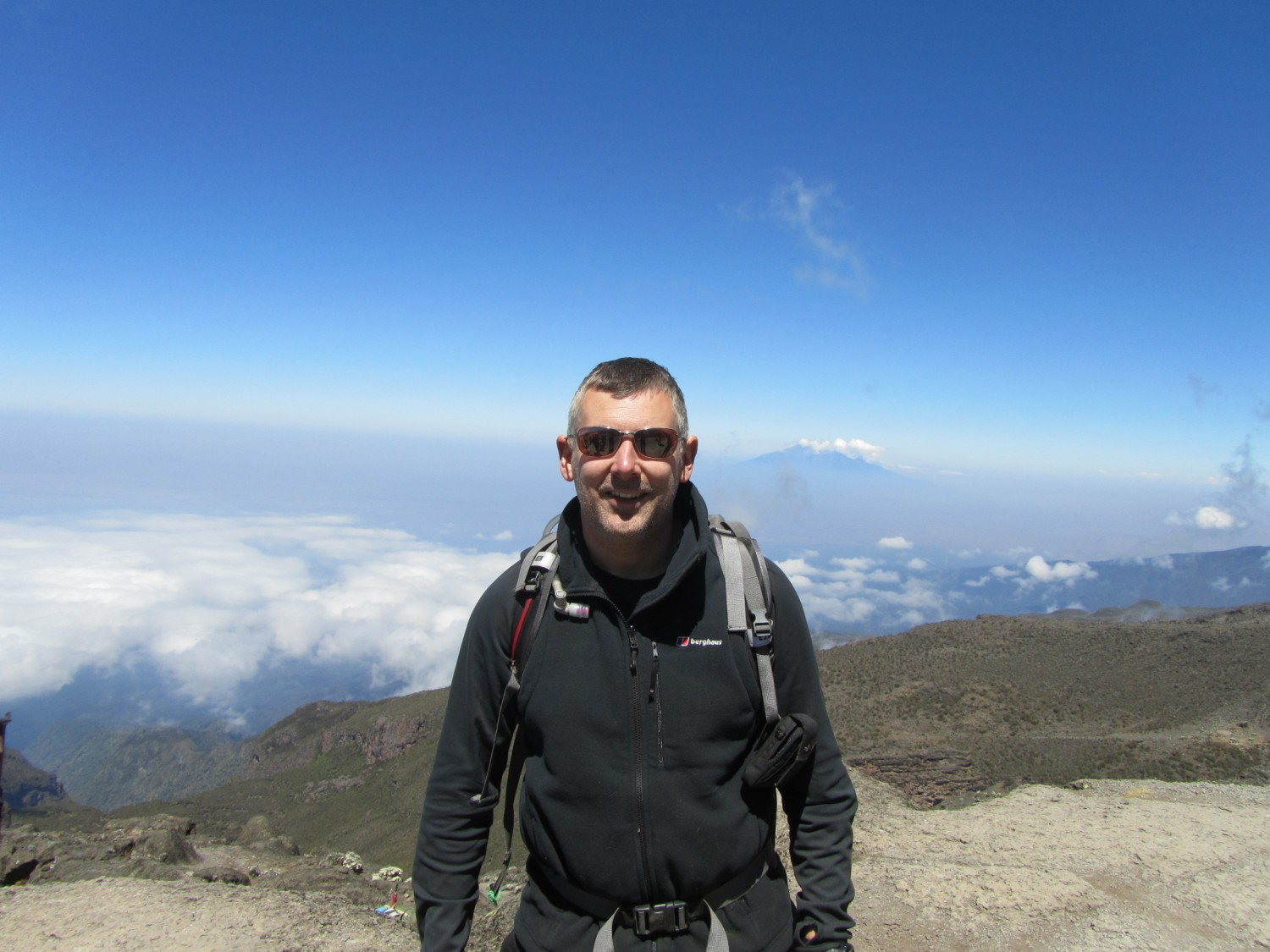 Mark Roberts half way up Kilimanjaro in September 2013. This was the last of the big challenges for Elise for Life, and the challenge that broke through the £1million target.