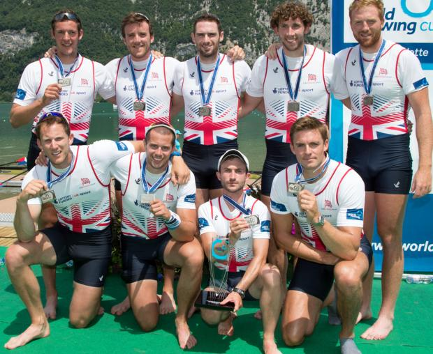 Northwich rower Matt Langridge, front left, shows off a silver medal he won with Great Britain's men's eight at Sunday's world cup in France. Picture: PETE SPURRIER/GB ROWING