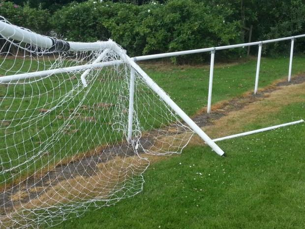 One of the vandalised goals