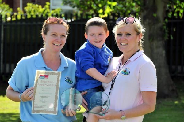 Northwich Guardian: Jenson King with Cheryl Edwards, Barnton Pre-school manager, and his one-to-one Jennie Berry.