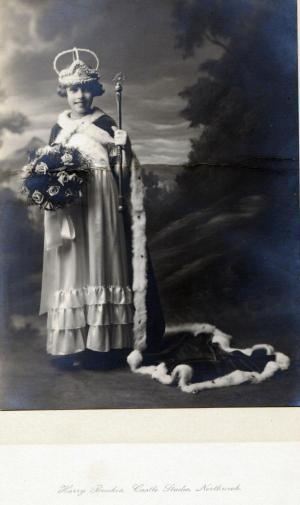 Dorothy Haward, neé Wakefield, when she was crowned Northwich Rose Queen in 1929, aged 12.