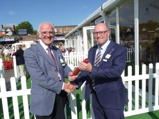 David Newton, patron and former chair hands over the baton to incoming chairman Mark Greaves