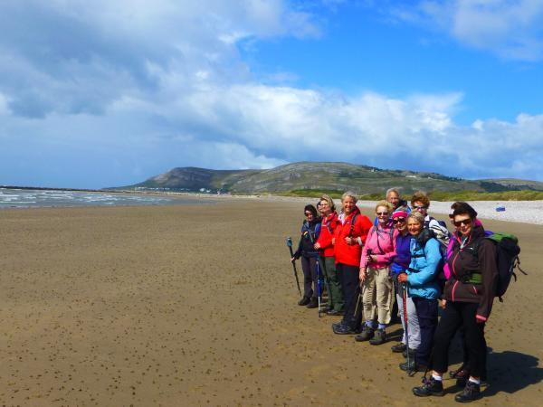Ramblers on the beach at Llandudno