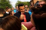 Peter Andre is mobbed by fans in Northwich.