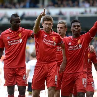 Steven Gerrard, centre, scored Liverpool's second goal in another big win over Tottenham