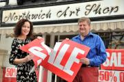 The closing down sale is over as Debbie Clowes hands over the ownership of Northwich Art Shop to Phil Bower.
