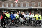 Breeze cyclists and Cllr Mike Jones welcome Jennie Price, chief executive of Sport England, to Cheshire.