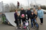 Councillors with youngsters at the skatepark