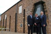 George Osborne with Graham Evans, who attended on Friday as the Conservative MP for Weaver Vale, and councillor Stuart Parker, centre, outside the Lion Salt Works.
