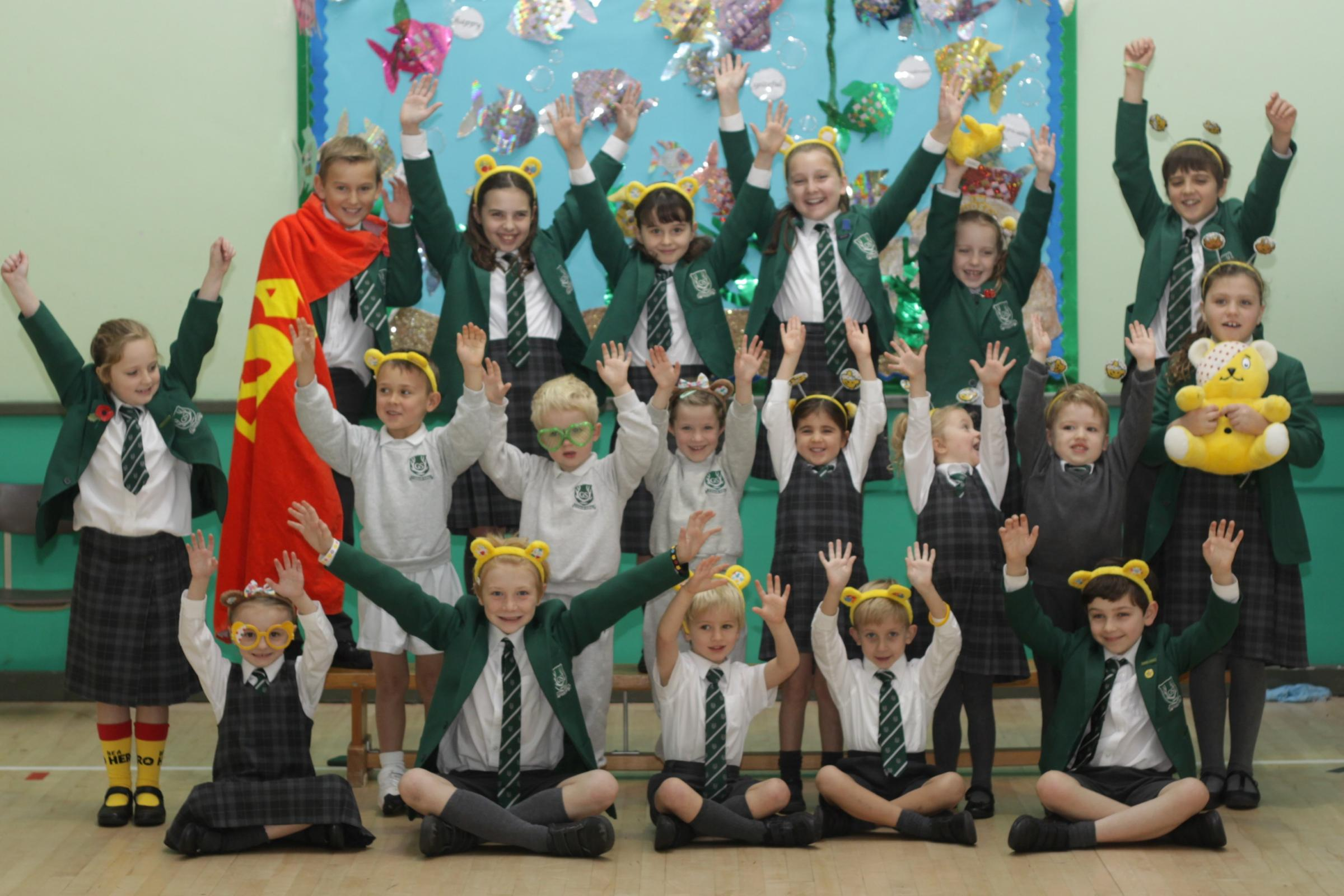 Children wore Pudsey ears at The Grange Junior School for Children in Need