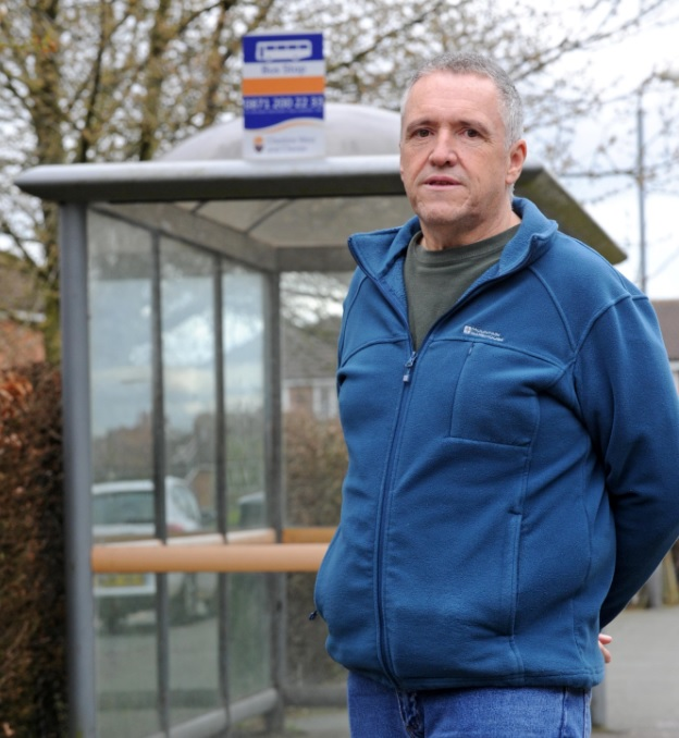 Peter O'Halloran at the 45 bus stop in Wincham
