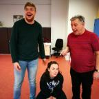 Northwich Guardian: Peter Brassington as Idol Jack, Daisy Brocklehurst, the cat and Phil Edwards, the Dame at rehearsals for Dick Whittington