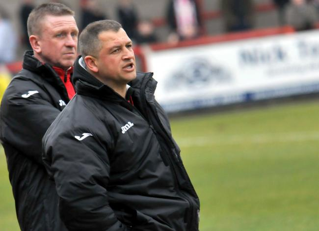 Witton Albion management duo Gary Martindale, left, and Carl Macauley