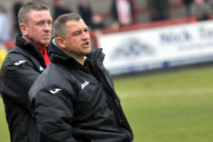 Witton Albion management team Gary Martindale, left, and Carl Macauley