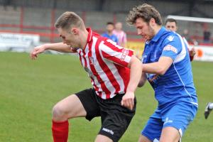 Witton Albion front man Steven Tames, pictured in action against Newcastle Town in January, was a match-winner against Sheffield on Saturday