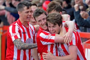 From left, Matty Devine and Tom Owens congratulate Brad Bauress after he scored Witton Albion's opening goal on Saturday