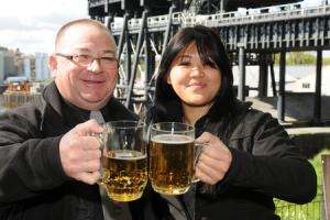Anderton Boat Lift duty manager Graham Wood and Melissa Darch from ABL