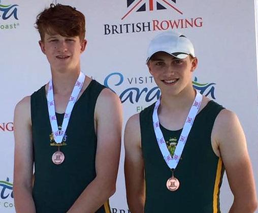 Northwich Rowing Club's Will Miles, left, and Tom Swithenbank show off the bronze medals they won in the under 16s boys' pair at the British Rowing Junior Championships