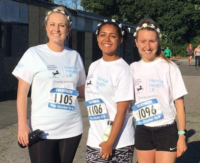 Vale Royal Athletics Club member Amelia Pettitt, right, with Laura Hovington and Eleanor Edwards before one of the Sale Sizzler 5K Series races this summer