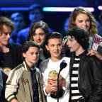 Northwich Guardian: The Stranger Things cast, including Millie Bobby Brown (centre), accepting an MTV award (PA)