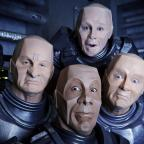 Northwich Guardian: Undated handout photo issued by UKTV of from the new series of returning science fiction sitcom Red Dwarf, showing the crew morphed into androids, like the character Kryten.