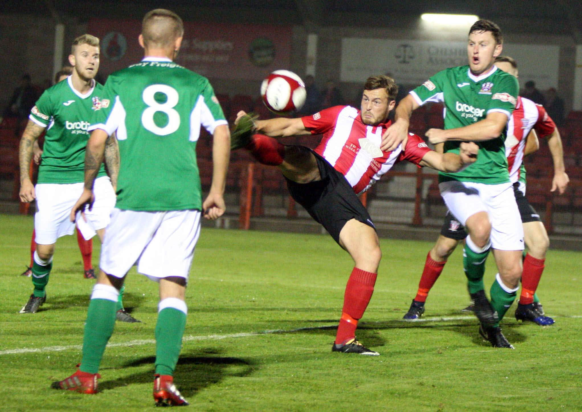 Will Jones and his fellow Witton Albion attackers hope to end a six-hour spell without scoring when Workington arrive tonight. Picture: Keith Clayton