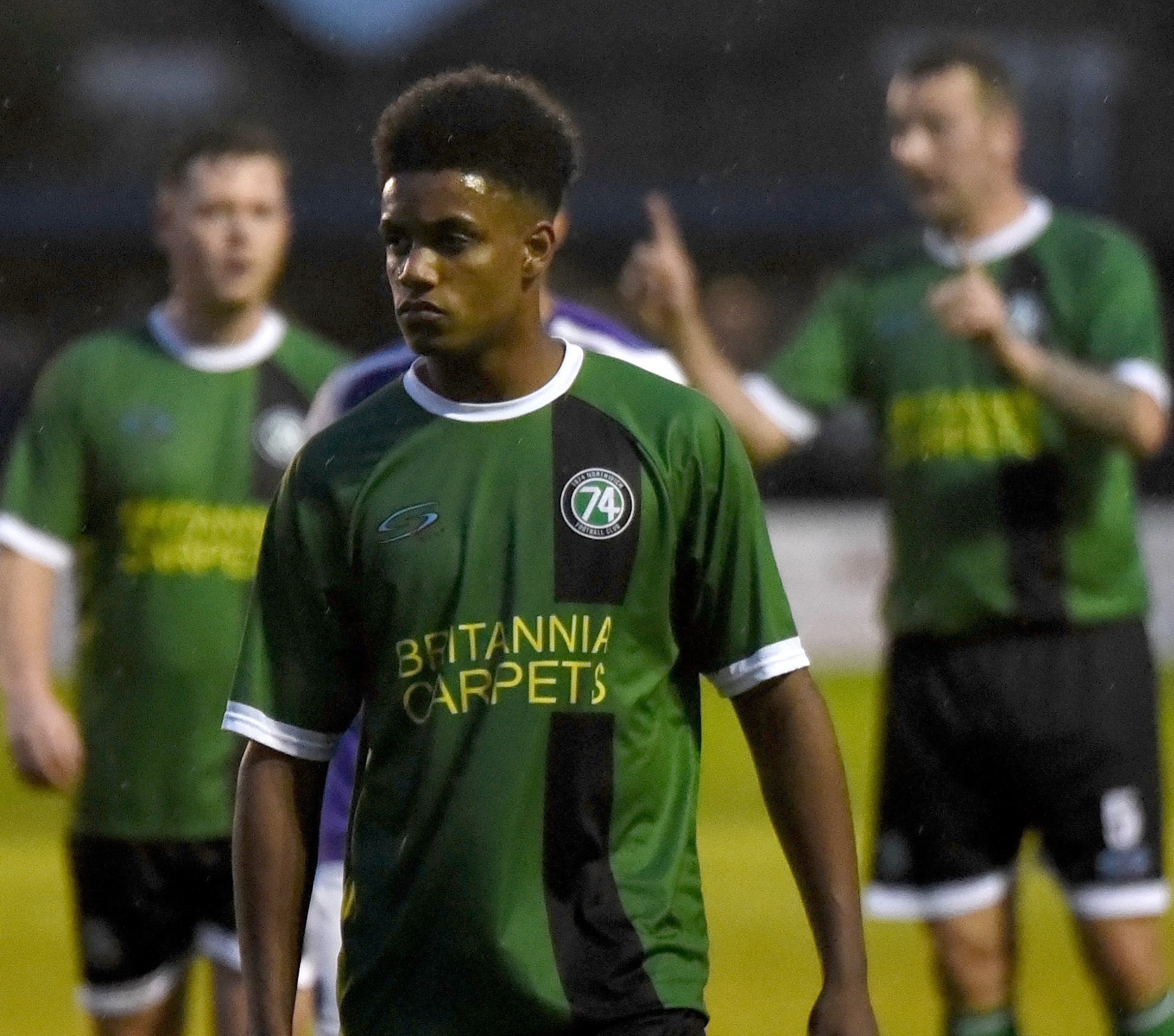 Kazim Waite-Jackson is in line for a recall to 1874 Northwich's midfield to cover the absence of Mark Jones and Jake Parker this weekend. Picture: Ian Dutton