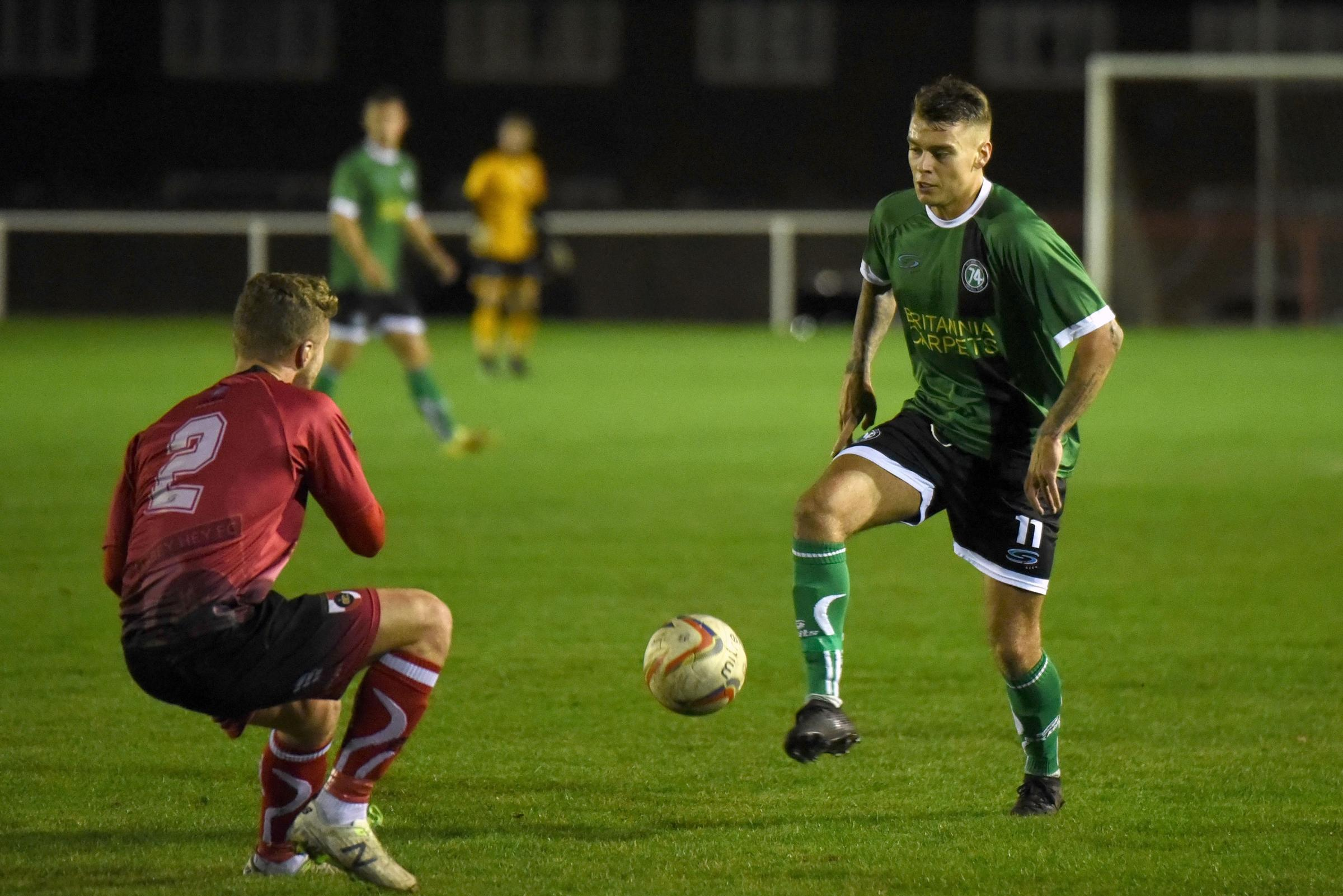 Action from 1874 Northwich's midweek loss at Abbey Hey. Picture by Ian Dutton