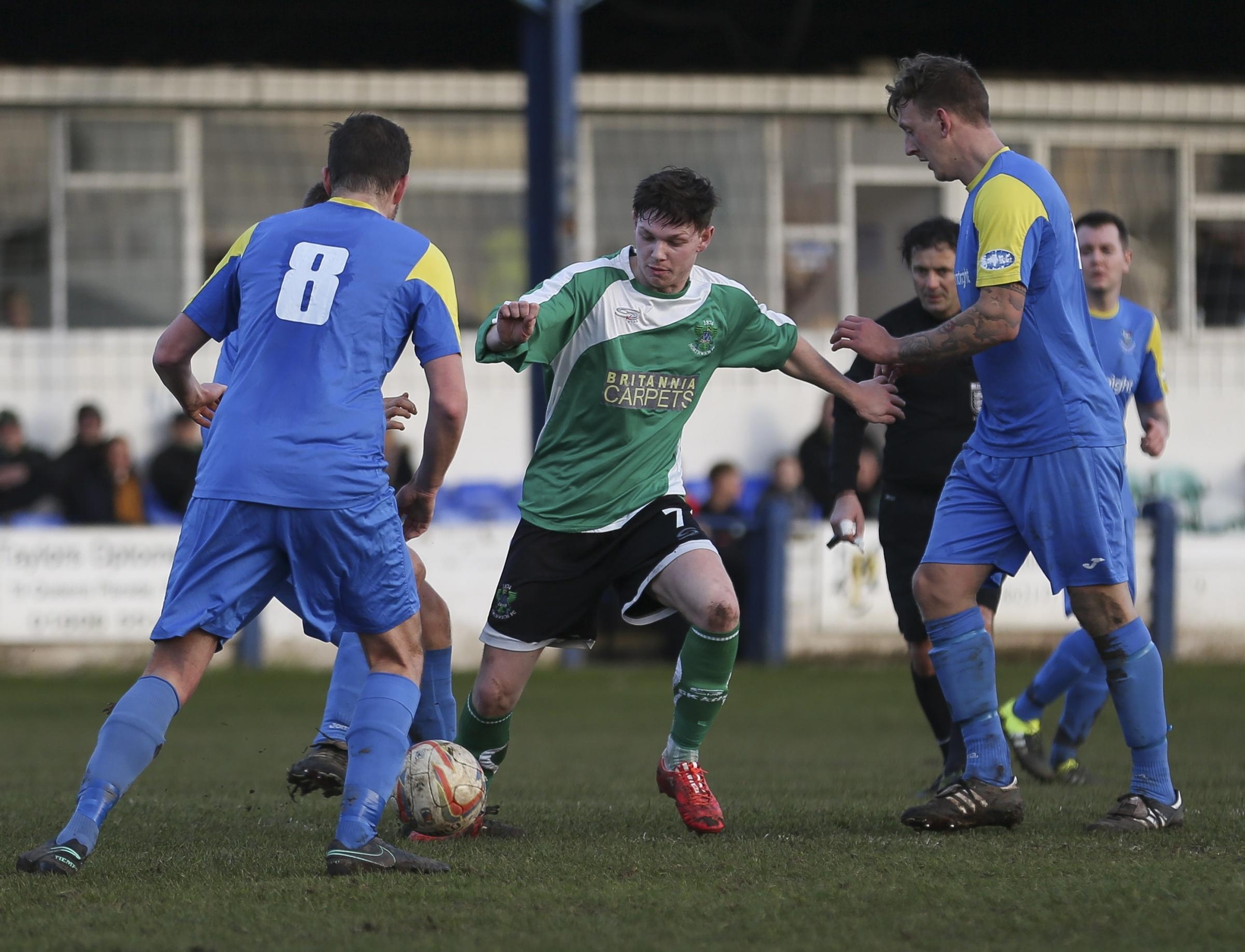 1874 Northwich ran out 2-0 victors during their most recent meeting with Barnoldswick at St Luke's Barton Stadium back in February. Picture: M Darlington Photography